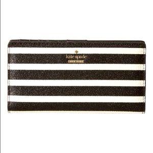 Kate Spade Black & White Stacy Hawthorne Lane Glitter Wallet
